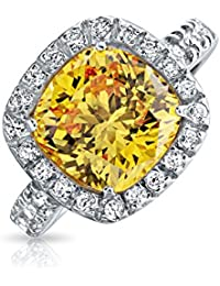 Bling Jewelry .925 Silver 3ct Simulated Citrine CZ Cushion Cut Engagement Ring