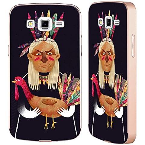 Ufficiale Oilikki Nativo americano Animali Oro Cover Contorno con Bumper in Alluminio per Samsung Galaxy Grand 2