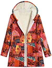 7aa3fbd617b OYSOHE Women Winter Coats,Ladies Floral Print with Pockets Warm Vintage  Full Sleeve Outwear Womens Hooded Cardigans Jacket…