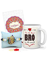 Tied Ribbons Rakhi for Brother Gift Combo (Designer Rakhi, Printed Coffee Mug, Rakshabandhan Special Card, Roli Chawal)