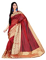 "Asavari ""SIGNATURE"" : Scarlet Maroon Supernet Cotton Banarasi Saree With Rich Zari Border"