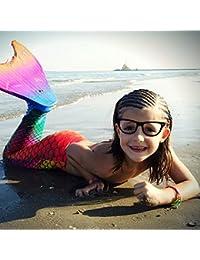Sirena colas Bañador con Monofin swimmable sirena colas por LinTimes para bañadores de natación para niñas, diseño arco iris