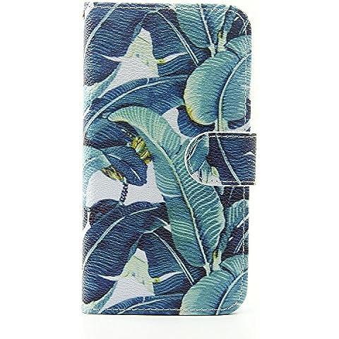 Voguecase® Para Samsung Galaxy S7, Funda Carcasa Cuero Tapa Case Cover(hojas verdes) + Gratis aguja de la pantalla stylus universales