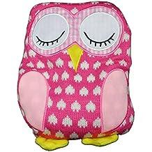 Körnerkissen Eule pink 26 cm - als Wärmekissen + Heizkissen für die Mikrowelle - Keramikperlen - Wärme - Kuscheltier Kissen Eulen Tier für Baby´s, Kinder und Erwachsene