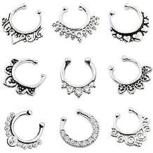 D&M Jewelry 9 Piezas Falso Tabique Nasal, Arete de la Nariz de Ilusión Anillo de Acero Inxidable para la Nariz Piercing