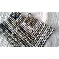 dicke klassische gehäkelte Topflappen, ca. 19 x 19 cm, Baumwollgarn, Vintage, dick, schützend, waschbar, langlebig