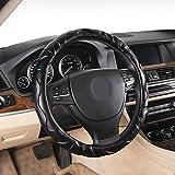NIKAVI Microfiber Hard Microfiber Auto Car Steering Wheel Cover Universal 15 inch (BLACK)