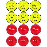 Kosma - Juego de 12 pelotas de críquet de viento para entrenamiento, deportivas y al aire libre, en una bolsa de transporte de malla (6 unidades, color amarillo brillante con costura negra, 6 unidades, color rojo con costura blanca)