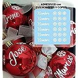 TOKPERSONAL 6 Nombres y 18 Mini Copos Adhesivos para Tus Bolas de Navidad (Bolas DE Navidad NO Incluidas- Solo Incluye 6 Nomb