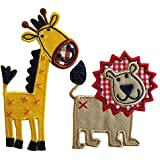 6X7Cm Leo 5X10Cm Jirafa El rey de la selva, un llamativo león con melena a cuadros y costuras en relieve Llamativa y feliz jirafa en llamativos tonos amarillos y naranjas en variadas presentaciones
