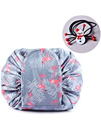 TOPSEFU Lazy Cosmetic Bag, Large Capacity Makeup Bag Toiletry Bag Quick Makeup Case Pouch Jewelry Organizer Multifunction Storage Quick Pick Up with Zipper and Drawstrings ¡ (Pink horse)