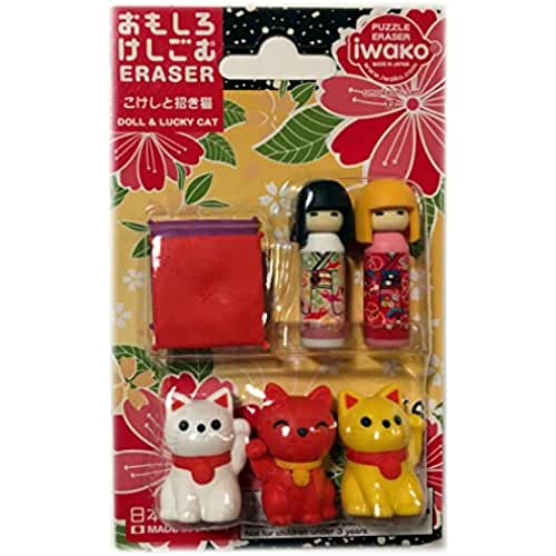 figuras kawaii Ty Iwako Eraserz Kokeshi - Set de figura de muñeca y gato