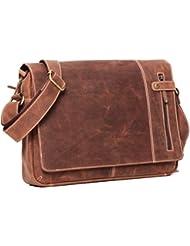 ALMADIH Leder Umhängetasche M26 braun Vintage aus Rindsleder - Ledertasche mit gepolstertem Laptop Fach, Leder Messenger Unitasche Büchertasche Schultertasche Freizeittasche Tragetasche (M26)