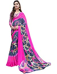 Gaurangi Creation Printed Georgette Satin Patta With Satin Border Saree For Women (Sur1001 Pink & Blue)