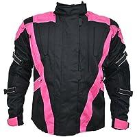 Turin – Giacca da donna impermeabile con protezioni per motociclismo - nero e rosa - Taglia IT 46 - UK 14 - circonferenza del petto 106,5cm