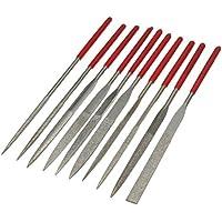 Juego de 10 limas de agujas de diamante de 3 x 140 mm para joyeros profesionales con agujas de precisión de diamante