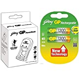 Godrej 1300mAh AA 2Nos Battery And GP PowerBank Rechargeable Charger