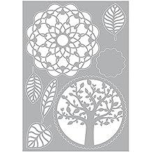 efco Stencil, Baum Blätter Mandala, Kunststoff, weiß, 29,7 x 21 x 0,1 cm