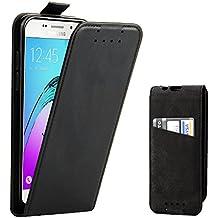Coque Galaxy A5 2016, Supad Etui à rabat protecteur en cuir véritable pour Samsung Galaxy A5 2016 (Noir)