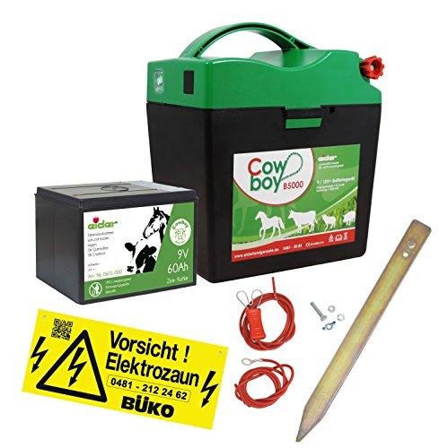 *Weidezaungerät Eider Cowboy B5000 9V sofort Startbereit mit viel Zubehör + 60 Ah Batterie bereits verbaut*