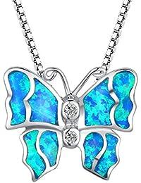 Arco Iris Jewelry Colgante de collar de la mujer de plata de ley con azul y verde ópalo de fuego y circonio cúbico, mariposa, cadena de veneciana, 46cm