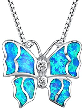 Arco Iris Schmuck Damen-Halskette mit Anhänger Schmetterling Sterling Silber mit Blauer Opal und Zirkonia 45 cm