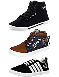 Clymb Perfect Combo Pack of 3 Stylish Premium Sneakers Shoes for Men