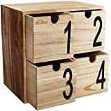 kealive Mini pecho de 4cajones organizador de escritorio de madera de almacenamiento decorativo Joyero para casa, oficina, 29,7x 19,6x 29,7cm de madera cajas de almacenamiento