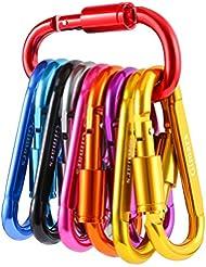 GIMARS[10 PCS] Mosquetón, llavero, gancho de aluminio para acampar, pescar, caminar o viajar (Multicolores).