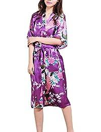 DELEY Mujer Pijama Ropa De Dormir Kimono Exóticos Pavo & Flores Satén Albornoces Bata