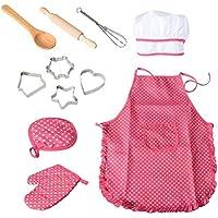 Bestonzon 11PCS Kids chef set bambini Cooking Play costume con cappello da cuoco grembiule guanto da forno e stoviglie