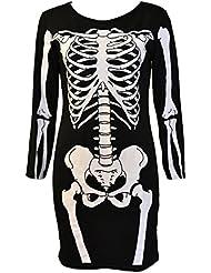 Mymixtrendz - Femmes Halloween manches longues moulante Squelette Robe tunique (L (UK 12 EU 40 US 8), crâne complet)
