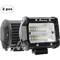 AAIWA Foco Led,Faro Luz 48w 2pcs, Focos LED de Trabajo,Luces Antiniebla IP67 Impermeable y Potente para Coche,Todoterreno Camion,Quad,Moto,Tractor,4x4