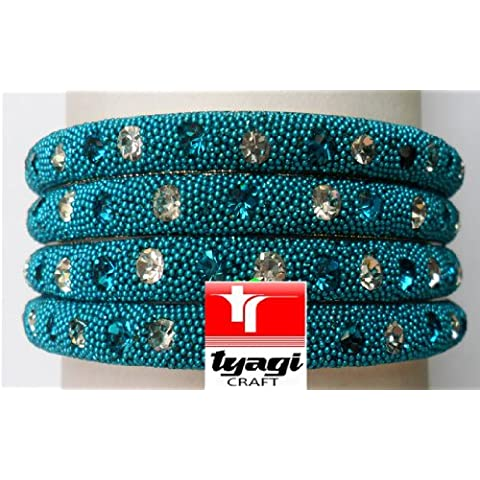 Matrimonio indiano Fancy asiatico con cristalli nozze gioielli partito usura royal blu braccialetto Kada saree etnica kundan bollywood costume colore dimensioni Tyagi Craft, Turchese - Fancy Gioiello
