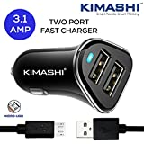 Kimashi 3.1 Amp Dual USB Port Car Charger With Micro USB Data Cable (Black)
