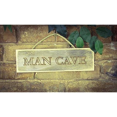 Man Cave, madera maciza grabado Sign