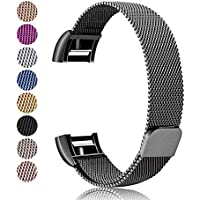 For Fitbit Charge 2 Strap Metal Bands, Mornex Milanese Stainless Steel Adjustable Replacement Accessory Straps with Unique Magnet Lock for Fitbit Charge 2 Fitness Wristband