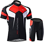 Festnight Men Breathable Quick Dry Comfortable Short Sleeve Jersey + Padded Shorts Cycling Clothing Set Riding