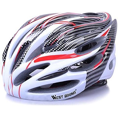 West material de carbono ciclismo casco de bicicleta de montaña 21Ventilaciones Talla L, hombre Niño juventud unisex Mujer, rojo