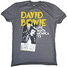 Amplified – Camiseta para hombre gris charcoal Official David Bowie Santa Monica 1972 72 Vintage Rock Star Diseño