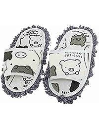 SODIAL(R) Zapatillas Trapeador para Limpiar Polvo de Suelo, Blanco y Gris Oscuro