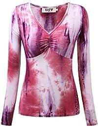 DJT Femme Haut Manches longues Col V Plisse Tie-dyed T-shirt