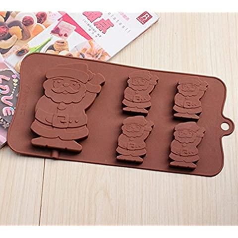 Yunko W0778 5 Christmas Santa Claus Chocolate Chip Silicone Baking Mold Bakeware by YunKo