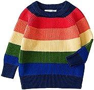 ZIGJOY Suéter de Punto Unisex 100% algodón para niños con suéter Grueso de Rayas Multicolores para niñas y niñ