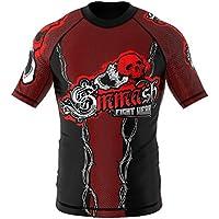 Rashguard SMMASH SCREAM - Camiseta (manga corta, tallas S-XXXL), color rojo y negro Talla:xx-large