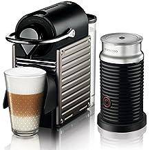 Krups XN 301T Nespresso Pixie Electric Titan mit Aeroccino (19 bar, Thermoblock-Heizsystem) schwarz