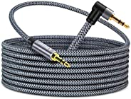 15ft 3.5mm Aux Audio Cable,Faodzc 90°Angled 3.5mm Male to Male Nylon Braided Stereo Auxiliary Headphones Cable
