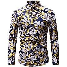 Camiseta con Cuello Slim Fit para Hombre BBsmile patrón Casual Moda Impresión de la Solapa Camisa
