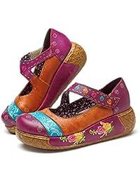 Socofy Sandalias de Mujer, Zapatos Merceditas para Mujer de Cuña de Flores Coloridas Zapatos de Cuero de la Vendimia Plataforma Slip-On…