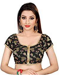 Spangel Fashion Black Musical Instruments Round Neck Women's Ready Made Saree's Blouse
